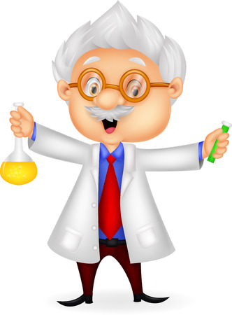 Cartoon scientist holding chemical flask Illustration