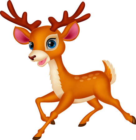 mascots: Cute deer cartoon running