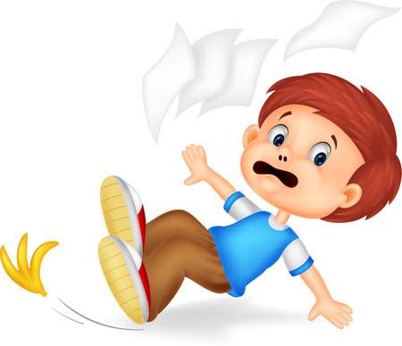 slips: Cartoon boy fall down