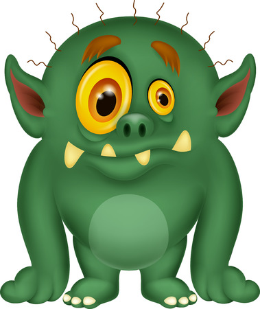 Green monster cartoon Vector