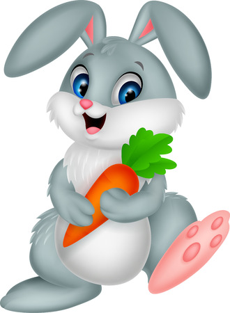 Happy rabbit holding carrot Vector