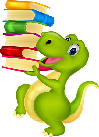 green dragon: Cute dinosaur with book
