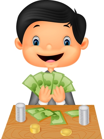 money cartoon: Cartoon boy counting the money