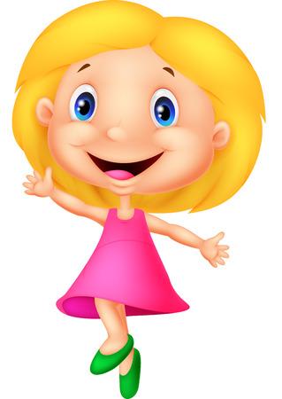 menina: Pequeno dos desenhos animados menina feliz