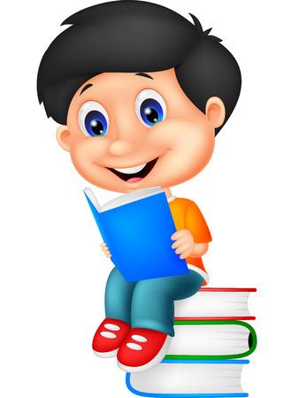 infant school: Little boy reading book Illustration