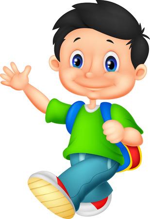 Gelukkig school jongen cartoon Stockfoto - 30339355