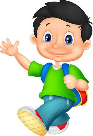 Happy school boy cartoon Vector
