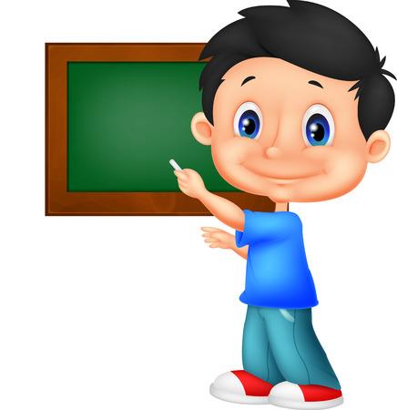 Happy little school boy writing on the blackboard