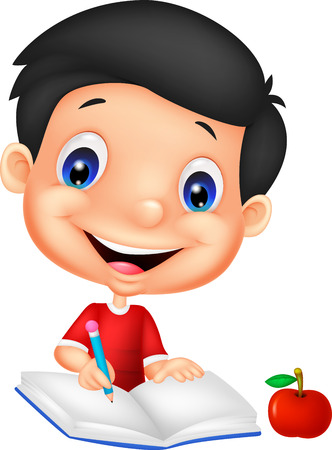Illustration of a happy boy writing on a book Vector