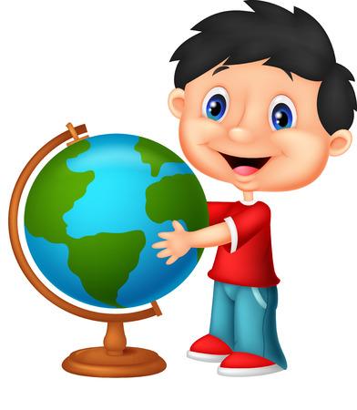 wondering: Cute boy looking at globe Illustration