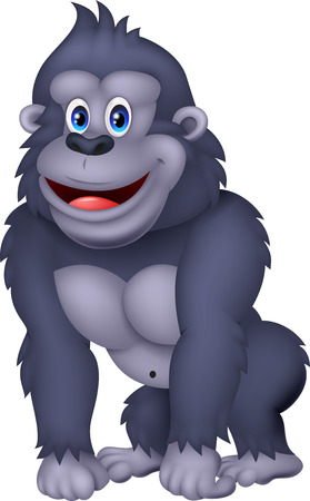 Happy gorilla cartoon Illustration