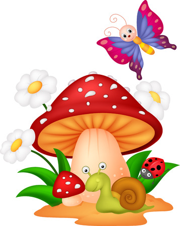 mushroom cloud: Small animal cartoon Illustration
