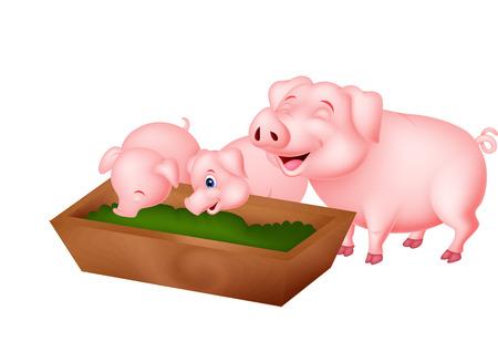 幸せな漫画豚を食べること