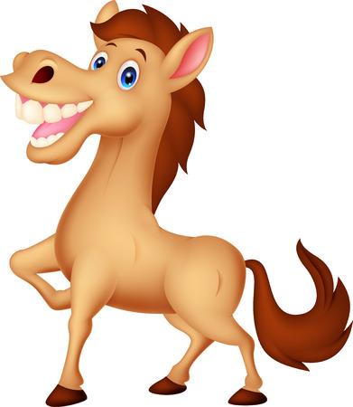 white horse: Happy horse cartoon