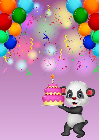 Panda holding birthday cake Illustration