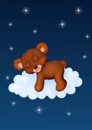 baby bear: Baby bear sleeping on the cloud Illustration
