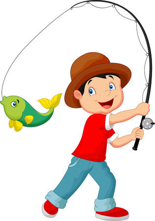 cartoon tier: Illustration der Cartoon Boy fishing