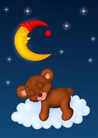 Baby bear sleeping on the cloud Illustration