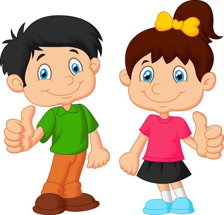gens heureux: Cartoon gar�on et une fille donnant pouce vers le haut Illustration