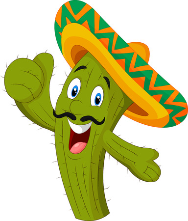 Happy cactus giving thumb up Vector