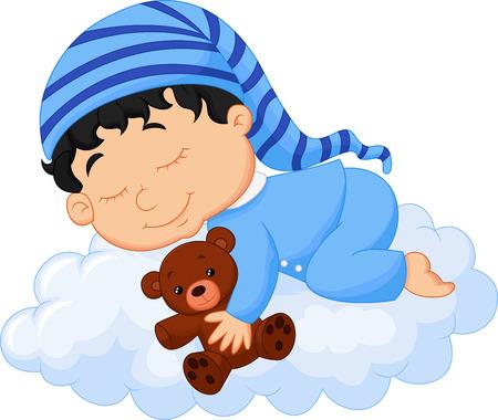 bautizo: Beb� nube dormir Vectores