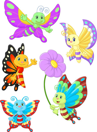 young animal: Cute butterfly cartoon collection set Illustration