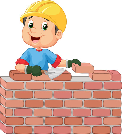Construction worker laying bricks Illustration