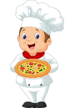 culinary skills: Chef holding pizza