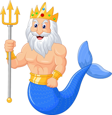 greek god: Poseidon cartoon Illustration