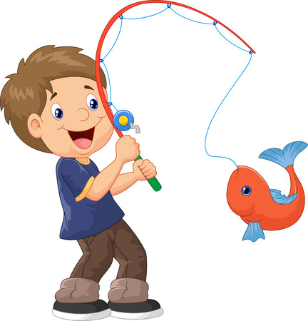Illustration of Cartoon Boy fishing Illustration