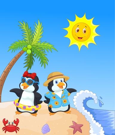 coconut crab: Cute cartoon penguin in summer holiday Illustration