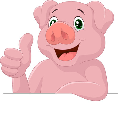 Pig giving thumb up Vector