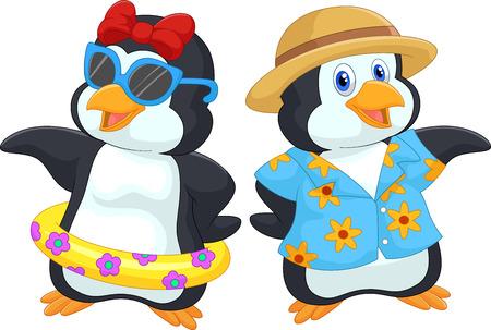 pinguino caricatura: Pingüino lindo del dibujo animado en vacaciones de verano