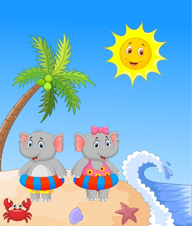 Elephant with inflatable ring at the beach Vector