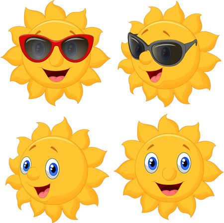 Happy sun cartoon character Vector