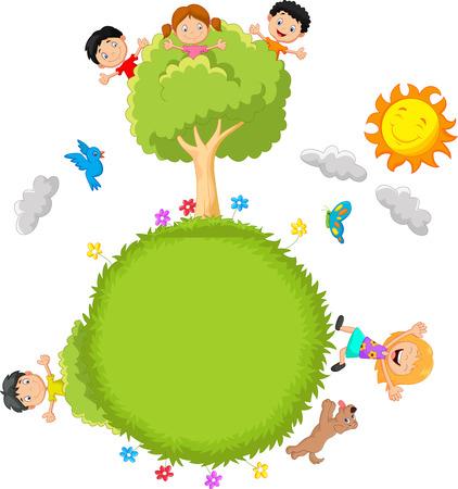 Happy kids cartoon Vector