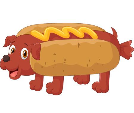 sausage dog: Hot Dog Cartoon Character Illustration