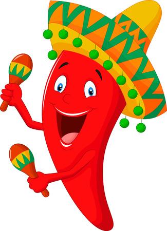 maracas: Chili cartoon playing maracas