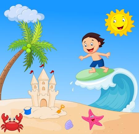 サーフィン幸せな少年漫画  イラスト・ベクター素材