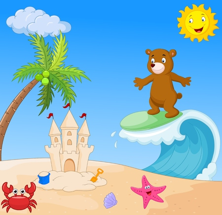 cartoon surfing: Happy bear cartoon surfing