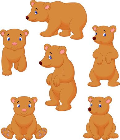 brown: Cute brown bear cartoon collection Illustration