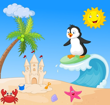 cartoon surfing: Happy penguin cartoon surfing Illustration