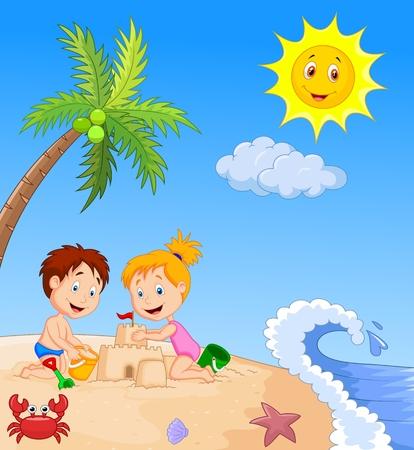 ocean cartoon: Children making sand castle at tropical beach