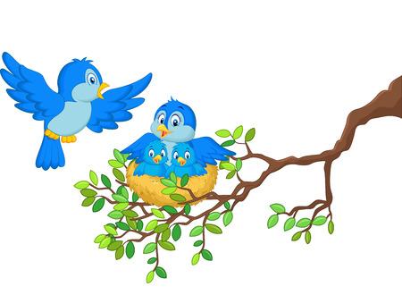 arbol de pascua: Las aves con sus dos bebés en el nido Vectores