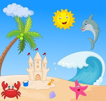 coconut crab: Summer beach cartoon