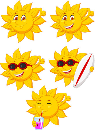 Sun cartoon character Vektoros illusztráció