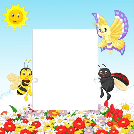 Cute insect with blank sign Vector
