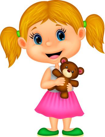 小さな女の子を保持しているクマぬいぐるみ