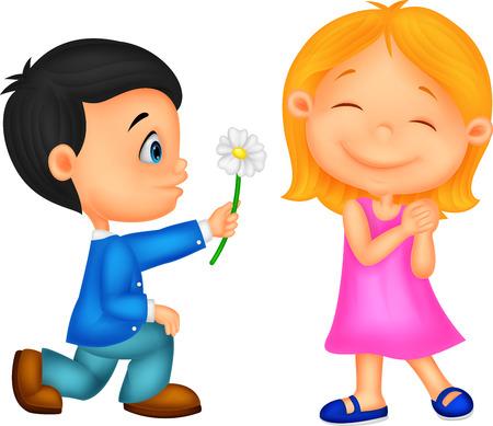 少年少女に花を与える 1 つの膝にひざまずく