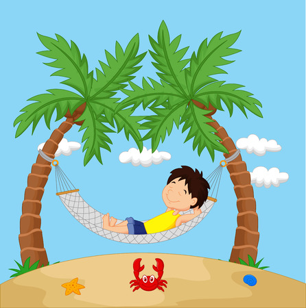 Boy relaxing in a hammock